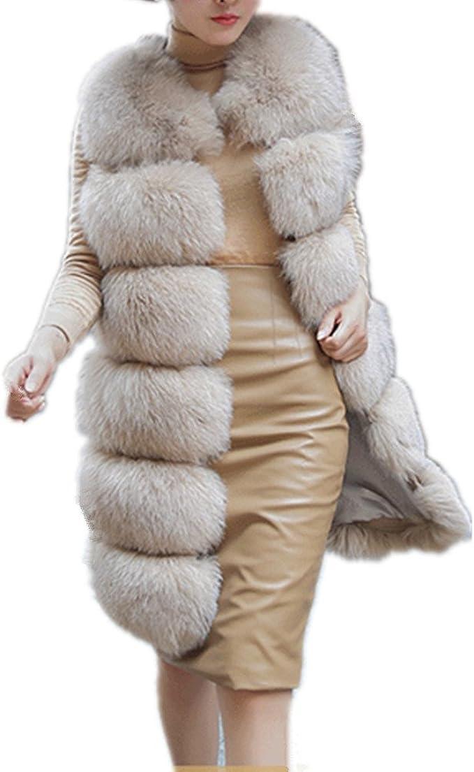 Lisa Colly Women's Faux Fox Fur Vest Long Fur Jacket Warm Faux Fur Coat  Outwear at Amazon Women's Coats Shop
