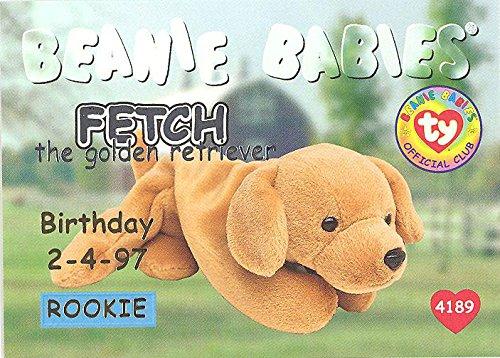 BBOC Cards TY Beanie Babies Series 1 Birthday (Silver) - Fetch The Golden Retriever (Rookie)