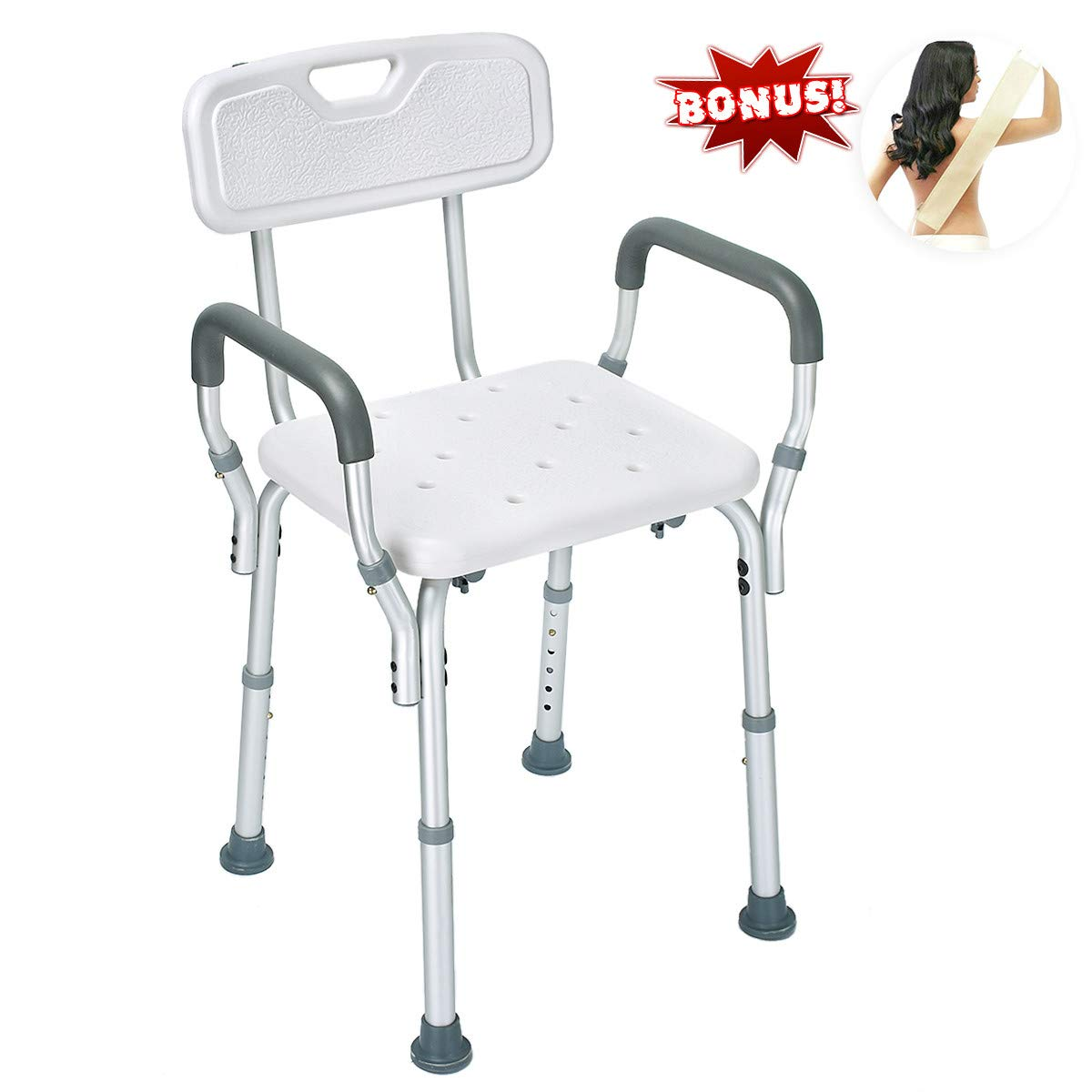 Health Line Shower Chair Bath Seat Bench with Removable Back &Arms, Tool-Free Assembly, Adjustable Height, w/Non-Slip Feet & Bonus Loofah Back Scrubber 61IUt2BQh0hL