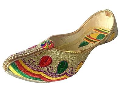 Schritt N Style Panjabi jutti Flip Flop Khussa Schuhe Casual mojari Kameez Schuh, Mehrfarbig - mehrfarbig - Größe: 37.5 Step n Style