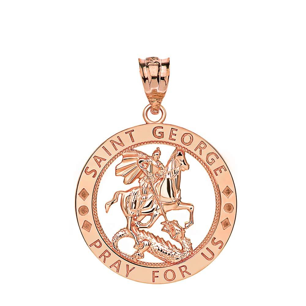 CaliRoseJewelry 10k Gold Saint George Pray for Us Round Charm Pendant