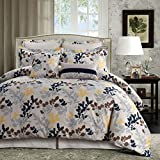 overstock duvet cover Tribeca Living Barcelona 5-Piece Egyptian Cotton Percale Printed Duvet Cover Set Queen