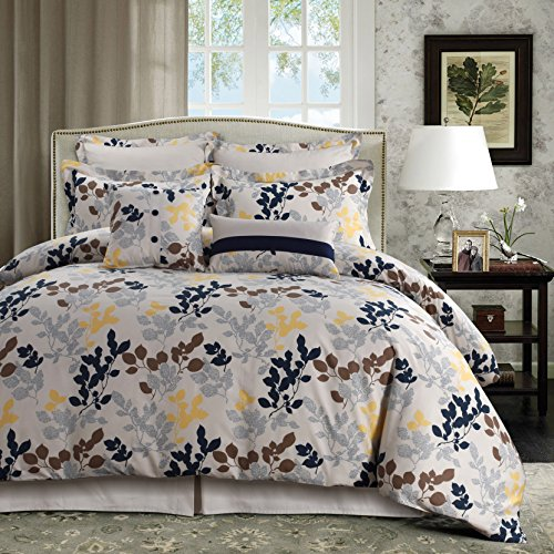 Tribeca Living Barcelona 5-Piece Egyptian Cotton Percale Printed Duvet Cover Set Queen