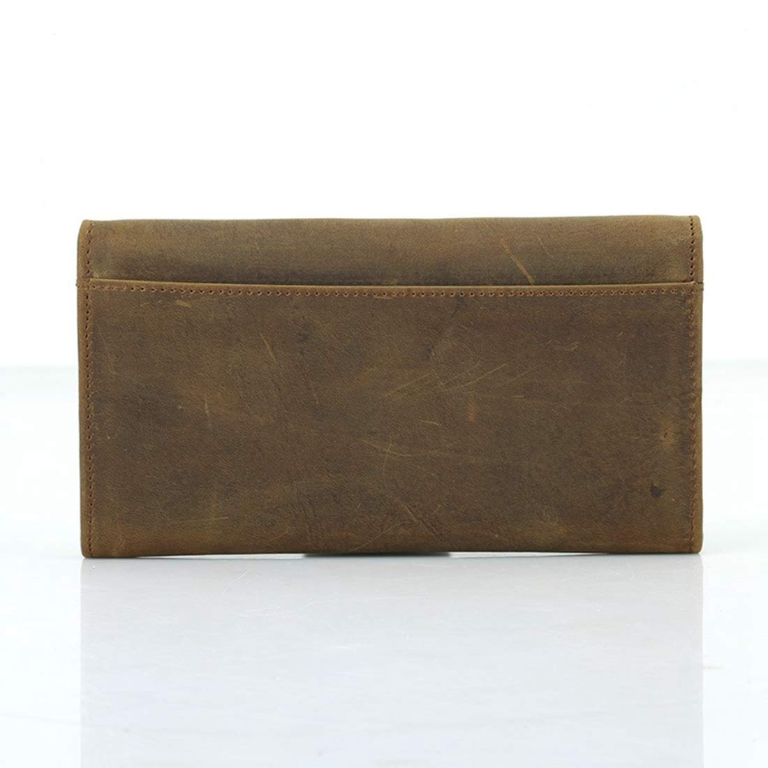 KRPENRIO Vintage Mens Multi-Function Leather Long Wallet 2 Fold Wallet Color : Dark Brown
