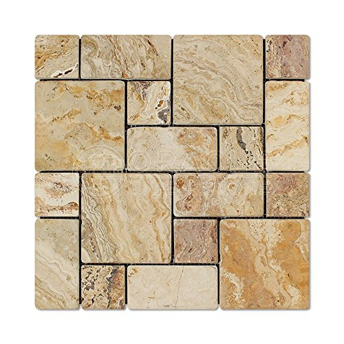 Valencia Travertine 3-Pieced Mini-Pattern Mosaic Tile, Tumbled (Small -