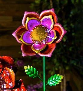 Secret Solar Metal Flower Garden Stake - 10.25 Dia. x 4.75 D x 34.75 H Pink