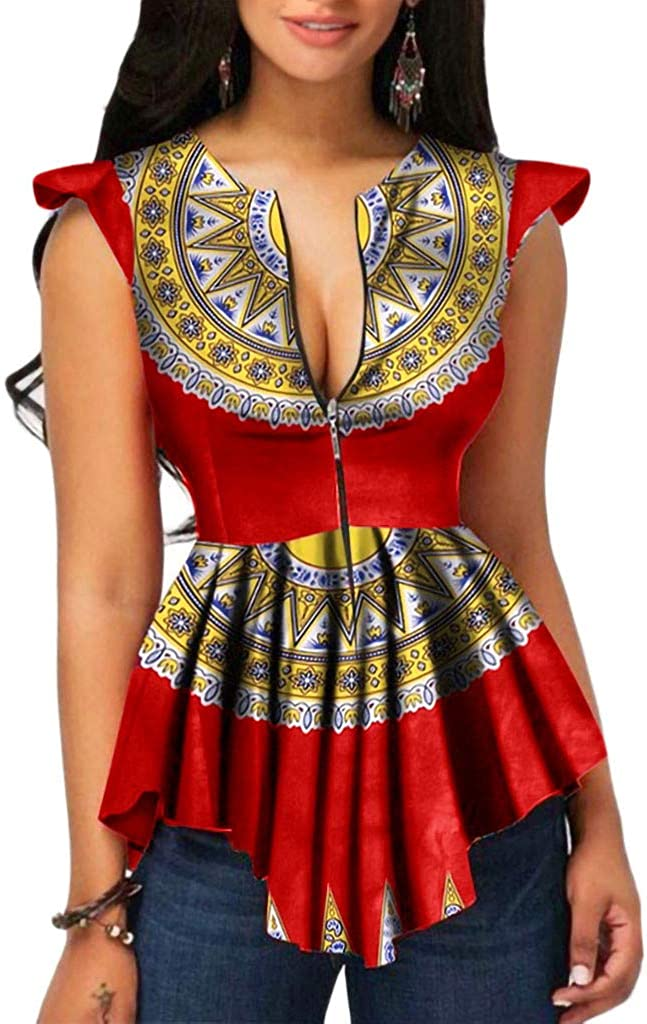 Uscharm Ruffle Sleeveless Tops Flounce Sleeveless Blouse Womens Summer Zipper Camis African Printing Tanks