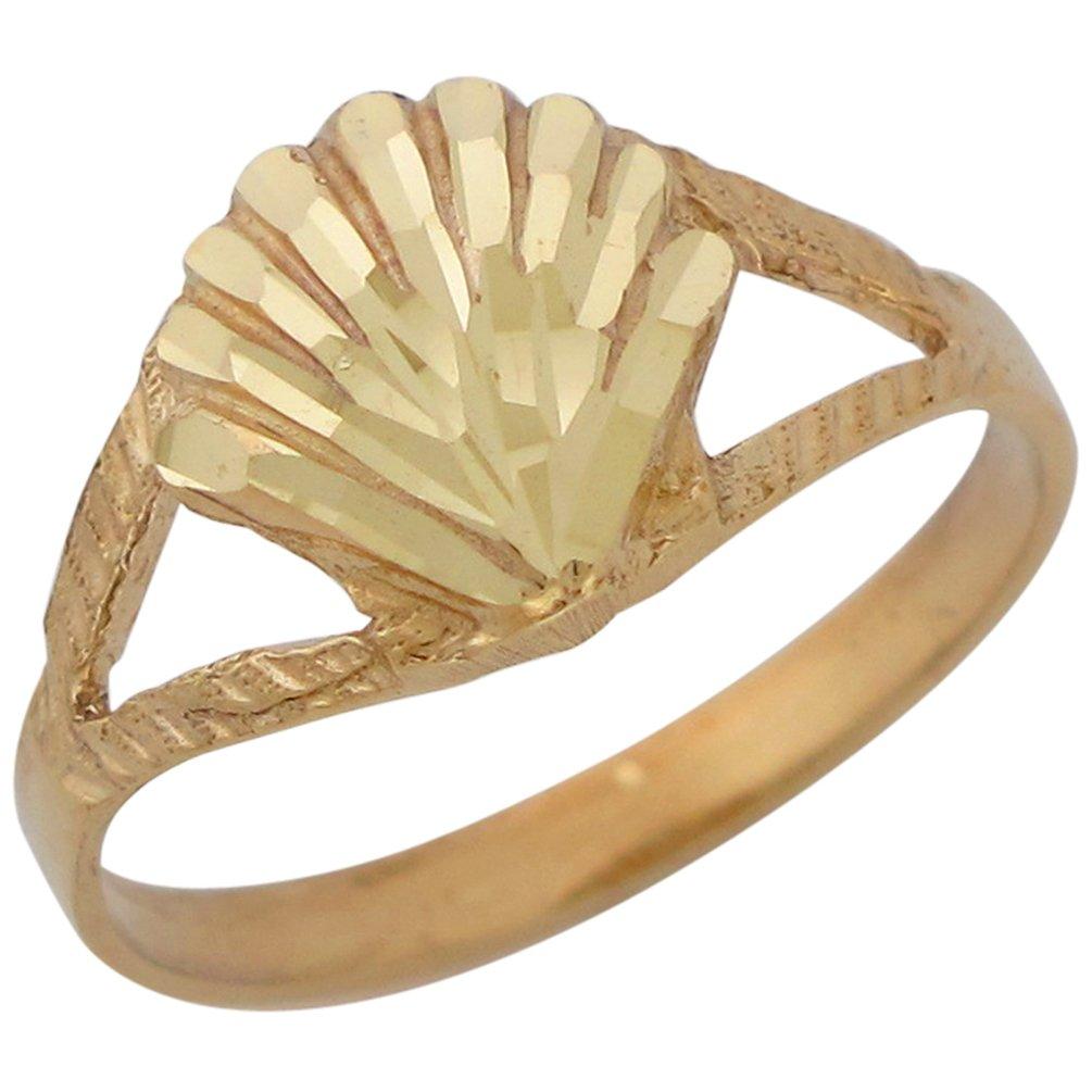 10k Yellow Gold Split Band Sea Shell Ladies Gorgeous Diamond Cut Ring