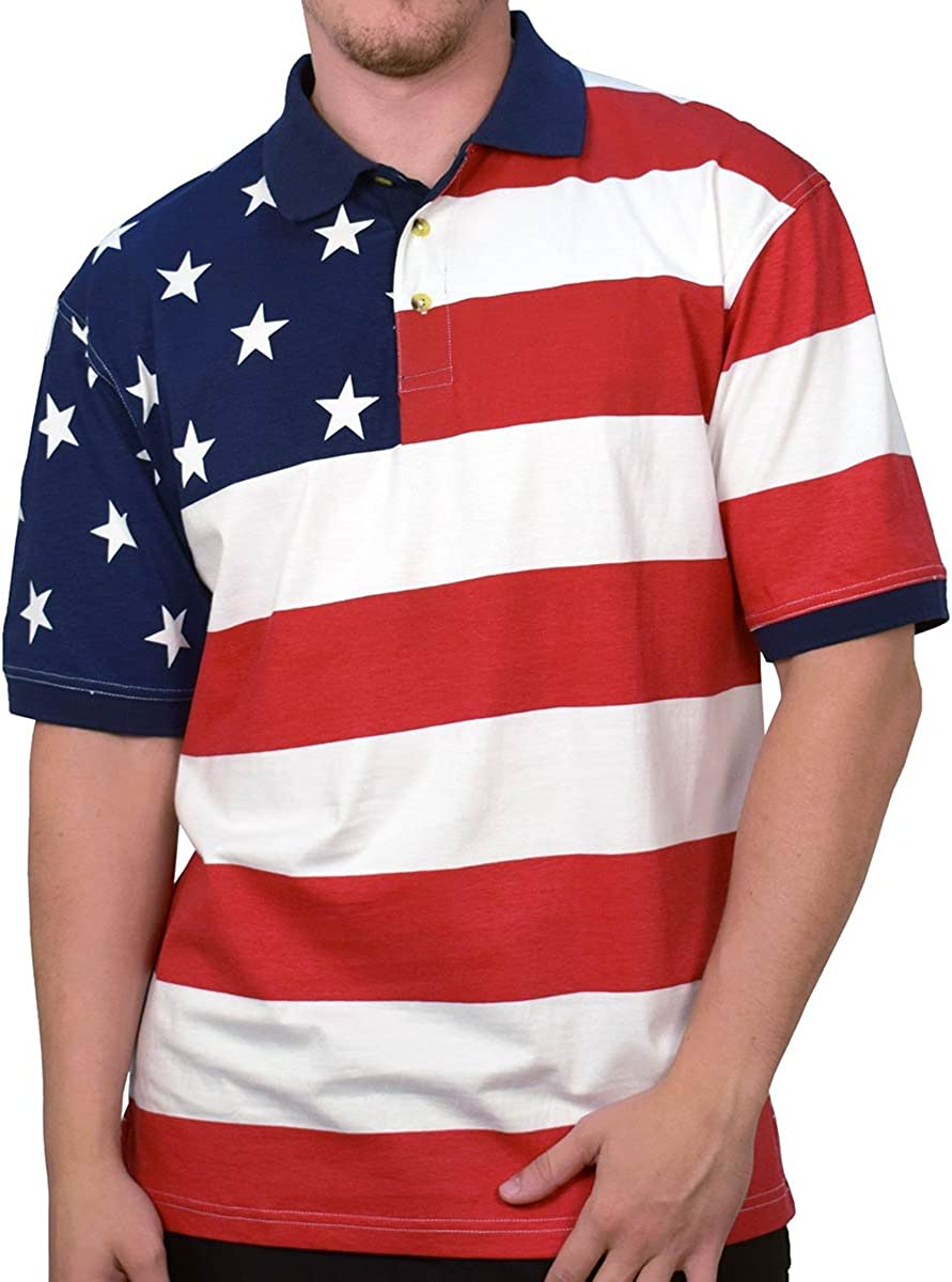 NEW Cotton Traders Sport Men/'s American Flag Polo Shirt S//S Tee Size XL