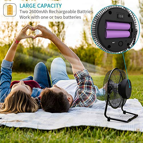 OPOLAR Battery Operated Recahrgeable Desk Fan for Home Camping Hurricane, 9 Inch Battery Powered USB Fan with Metal Frame, Quiet Portable Fan with 5200 mAh Capacity & Strong Airflow