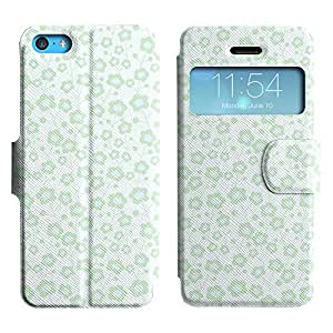 AADes Scratchproof PU Leather Flip Stand Case Apple iPhone 5C ( Blue Flower )