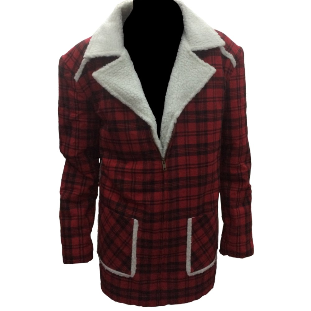 Gen1Leather Men's Deadpool Ryan Reynolds Shearling Red Jacket Coat GEN1-308