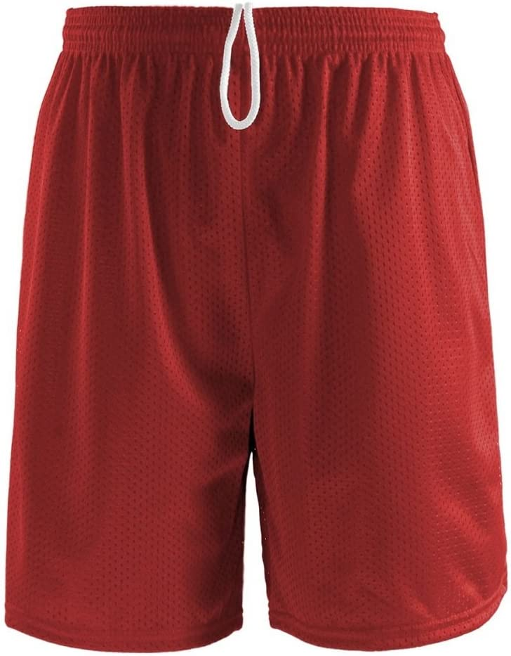 Soffe Birds Eye Mesh Red Short w//Tricot Liner-SMALL
