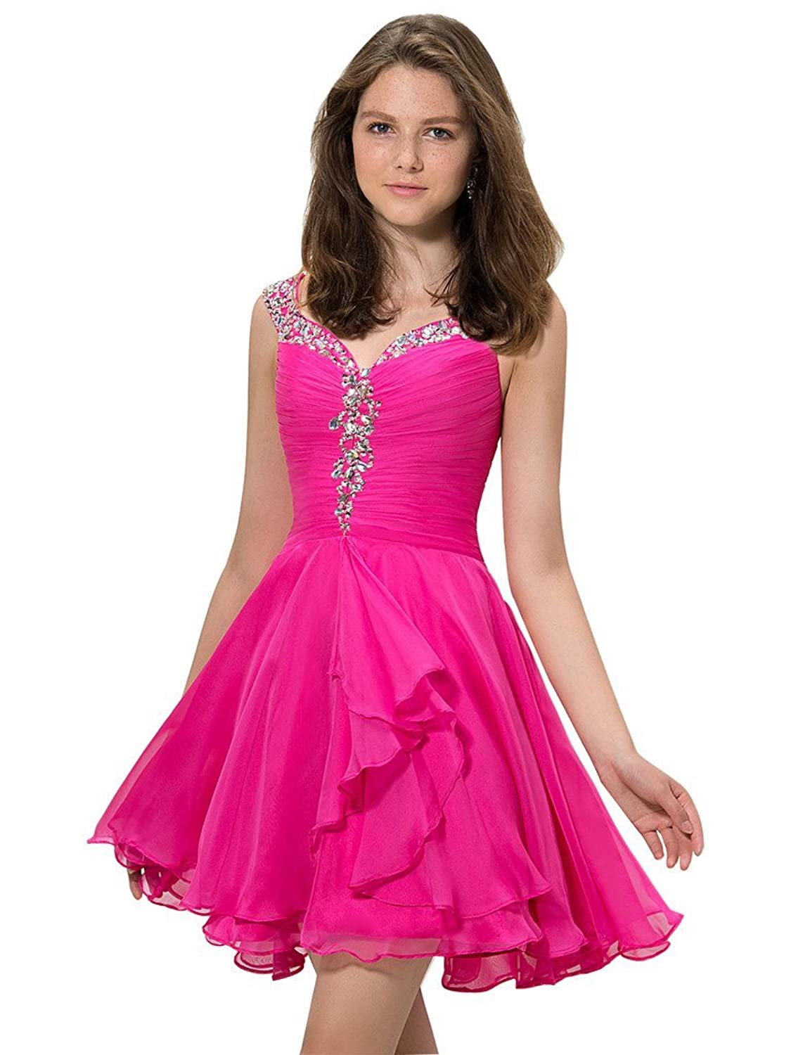CLOCOLOR Short Mini A-line Ruched Chiffon Beaded Straps Cocktail Dress for Girls Teenagers Homecoming Graduation Gowns