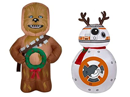 christmas airblown inflatable star wars decorations bb8 45 ft and chewbacca 5 ft - Star Wars Inflatable Christmas Decorations
