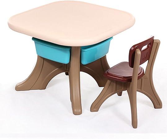 Brisk- Mesa Y Sillas Engrosadas para Niños, Escritorio para Bebés, Silla, Mesa De Estudio De Plástico Conjunto De Mesa De Jardín De Infantes (Color : Brown-1 Table 1 Chair): Amazon.es: Hogar