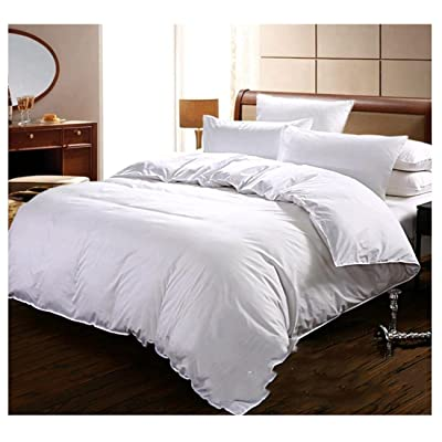 100% Cotton Duvet Cover 3 Piece Hotel White Duvet Cover Set With 2 Pillow Cases-400TC Alternative Goose Down-Hypoallergenic Soft and Fade Wrinkle Resistant-Luxury Soft Quality Collection-Queen Size