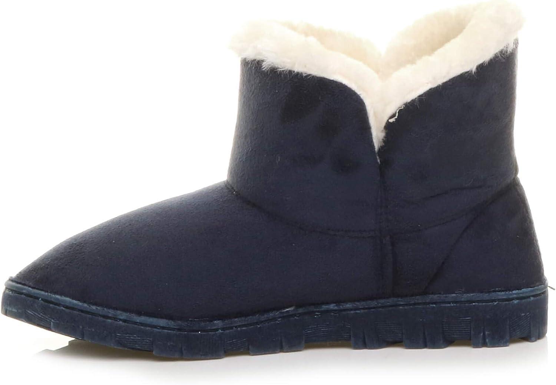 Ajvani Femmes Luxueux Fourrure Fausse Chaude Bottines Chaussons Chaussures Pointure Bleu Foncé