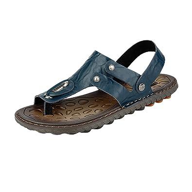 Yiiquan Herren Bequeme PU Leder Sandalen Schuhe Beach Sandal Zehentrenner Outdoorschuhe