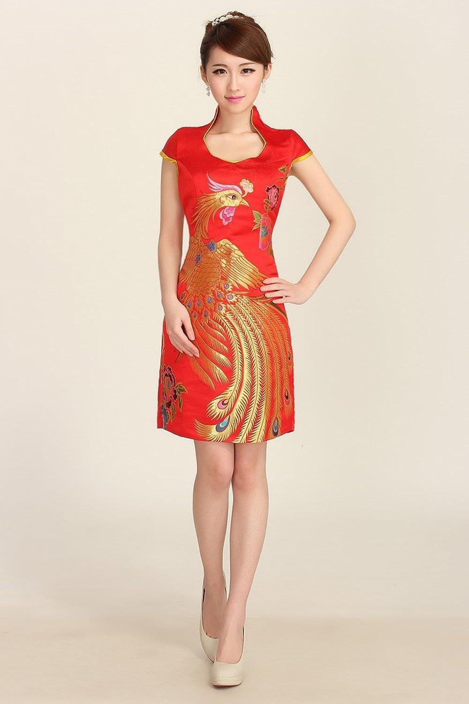 时尚旗袍_时尚旗袍裙新娘结婚敬酒短款红色晚礼服修身旗袍 (xl