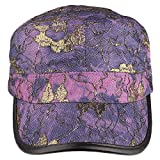 bogo Brands Cadet-Style Hat Cap With Gold Stitched Flower Designs (Purple)