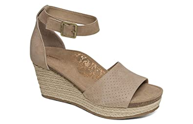 aec7a5163da Aetrex Miley Womens Leather Ankle Strap Espadrille Wedges
