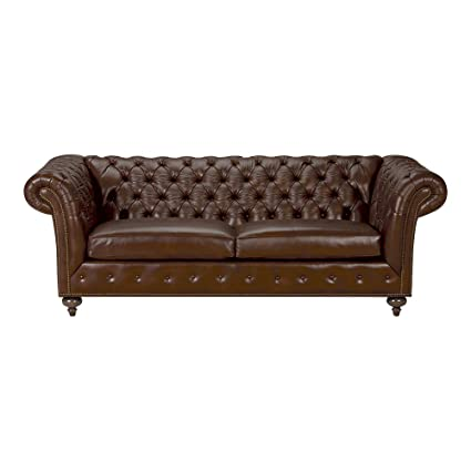 Ethan Allen Mansfield Leather Sofa, 89u0026quot; Sofa, Omni Brown Top Grain  Leather