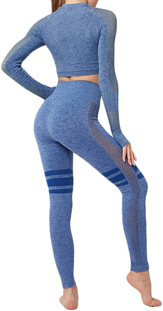 Dainzuy Yoga Outfits for Women 2 Piece Set Crop Top Activewear Shirts Workout High Waist Athletic Seamless Leggings