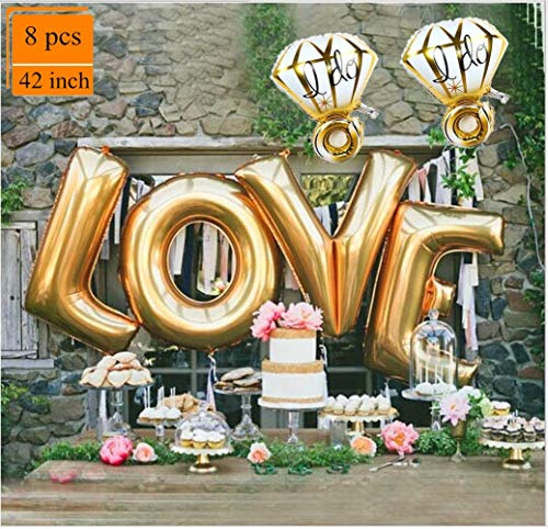 - Love Balloons Diamond Ring Balloon Decorations Gold Letter Extra Large Balloon Set for Birthday Bachelorette Engagement Wedding Bridal Shower Graduation Fiesta Party Supplies SG055