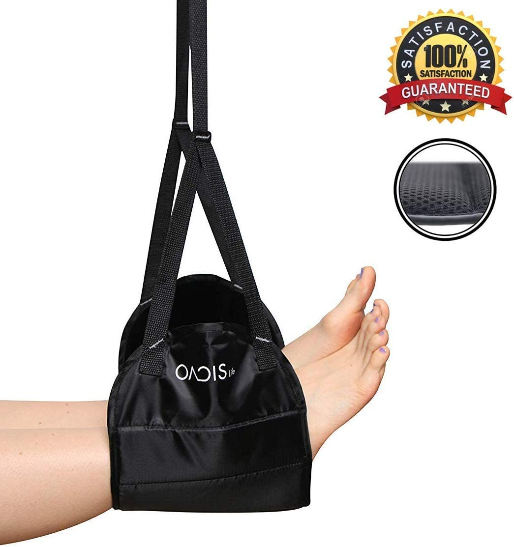 Airplane Foot Rest Hammock by Oacis Life 2019 Version – Doubled Memory Foam Travel Leg, Great for Office, Airplane, Train, Bus or Home Use, Prevents Swelling and Stiffness