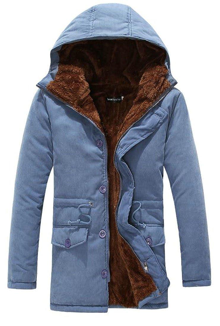 Macondoo Mens Faux Fur Lined Outdoor Hoodie Thick Warm Parka Coat