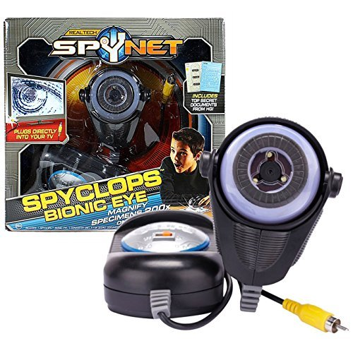 Jakks Pacific Year 2011 Real Tech SpyNet Series SPYCLOPS BIONIC EYE with 200X Specimen Magnification on Your TV Plus 4 Top Secret Documents by SpyNet