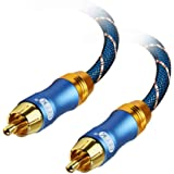 EMK Subwoofer Cable (9.8ft/3m) -Digtal Coaxial/Subwoofer Cable Dual Shielded with Gold Plated RCA to RCA Connectors -Top…