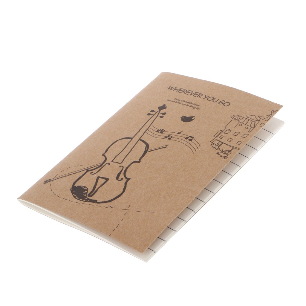 JUNESUN Cute Kraft Cover Journal Diary Note Book Blank Page Stationery Graffiti Planner