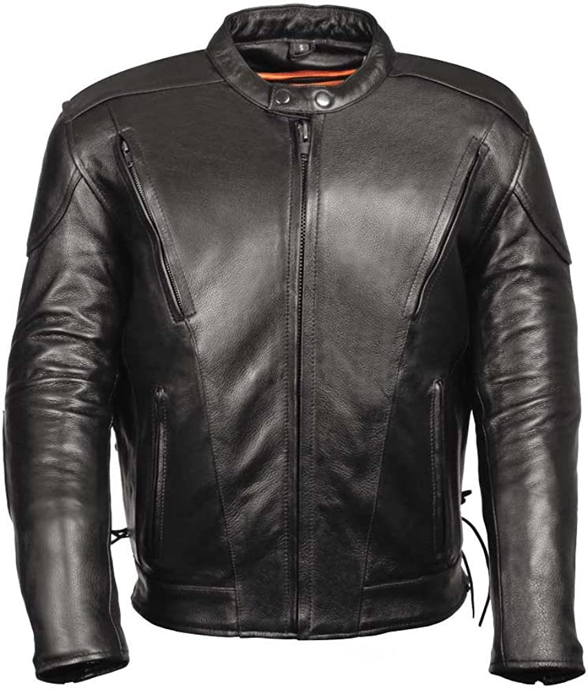LEATHER KING Leather Biker Jacket-Vents Tall Sizes