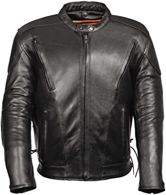 AGAING Men Leather Band Collar with Belt Mid Long Buckle Biker Jacket