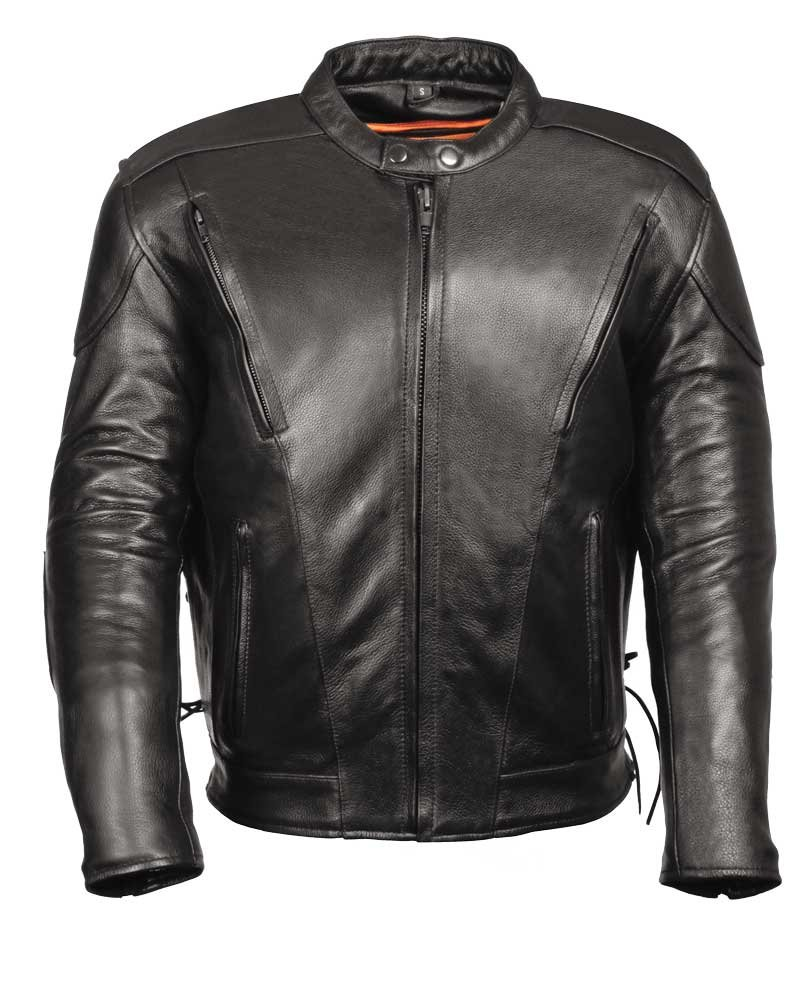 C1010T Mens Biker Leather Jacket –Vents Size L Tall