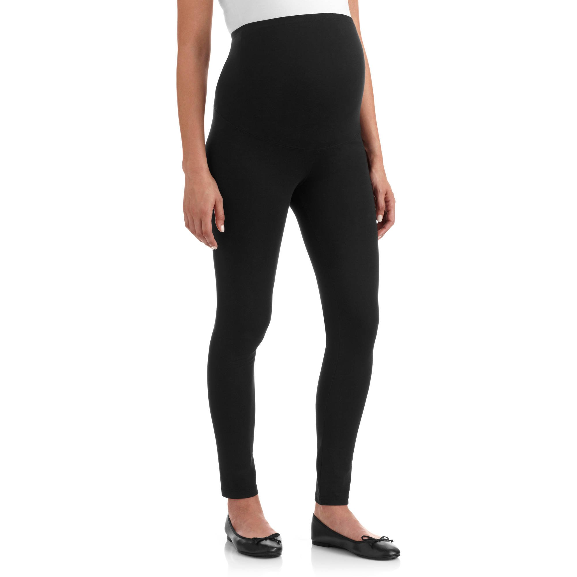 RUMOR HAS IT Maternity Over The Belly Super Soft Support Leggings (Small, Black)