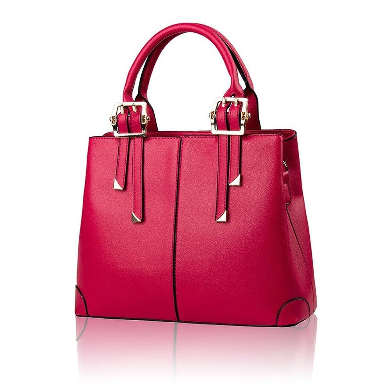 Womens Soft Pu Leather Shoulder Bag OL Handbag - Cerise