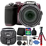 Nikon Coolpix B500 16MP Digital Camera Plum + Accessories & Extra Batteries