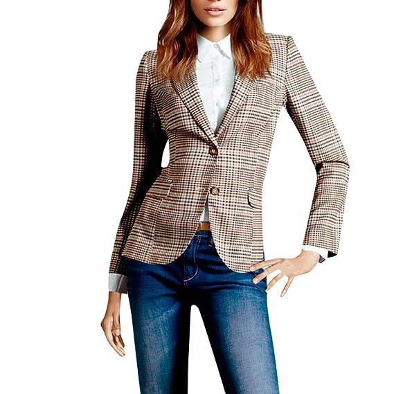 91f11197fd Millenniums Femme Blazer à Carreaux Double Bouton Slim Veste de Tailleur  Élégant Tailleur Ajusté Casual Business