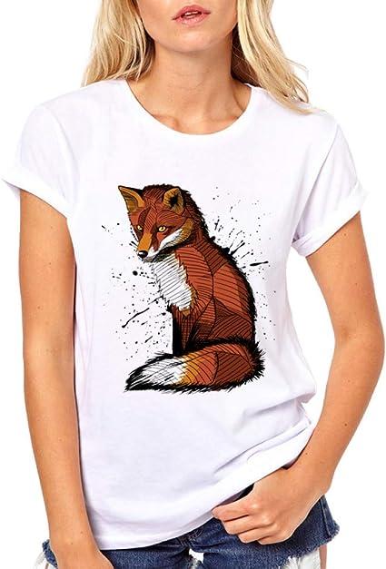 LIULINUIJ T-Shirt Femme Kawaii Animal Fox