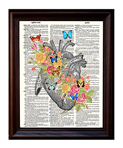 Dictionary Art Print - Human Heart with Victorian Flowers - Printed on Recycled Vintage Dictionary Paper - 8.5x11 - Mixed Media Poster on Vintage Dictionary Page