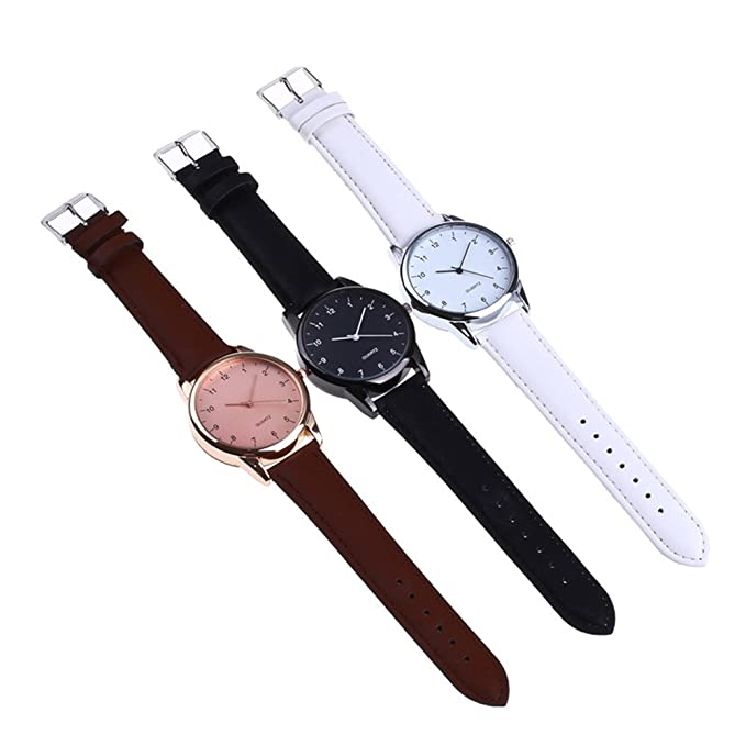 JiaMeng Reloj con Movimiento de los Hombres de Negocios de la Banda de Cuero de la Manera de la Venda de Cuero de la Manera de la Pareja(Blanco): Amazon.es: ...