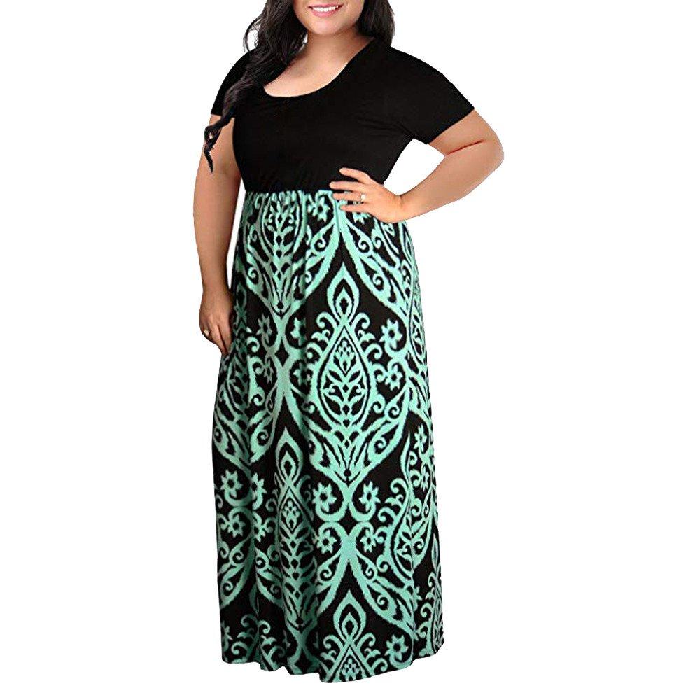 83406efc9d5 Womens Dresses Women s Print Summer Patchwork Short Sleeve Plus Size Casual  Long Maxi Dress at Amazon Women s Clothing store