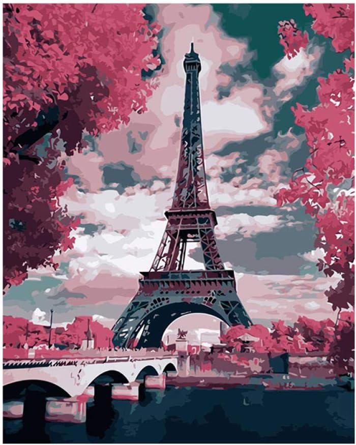 ZGSSSSS Pittura a Olio su Tela con Numeri-16*20 Pollici Torre Eiffel Dipingere da Numero Kit per Adulti Bambini Decorazioni per La Casa con Cornice di Legno