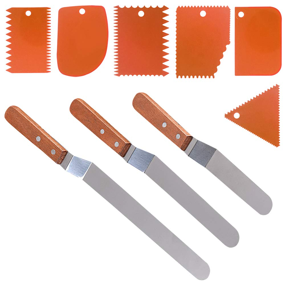 3 Angled Cake Spatula & 6 Pieces Cake Scraper Smoother, DaKuan 3 Sizes of Stainless Steel Cake Icing Spatulas with wooden handle (9.5'', 8'', 6'') & 6 Pieces Orange Cake Smoothing Cutter Plate Tool by DaKuan