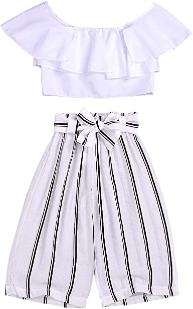Kids Toddler Baby Girl Fly Sleeve Crop Top+Striped Skirt Long Dress Summer Outfit