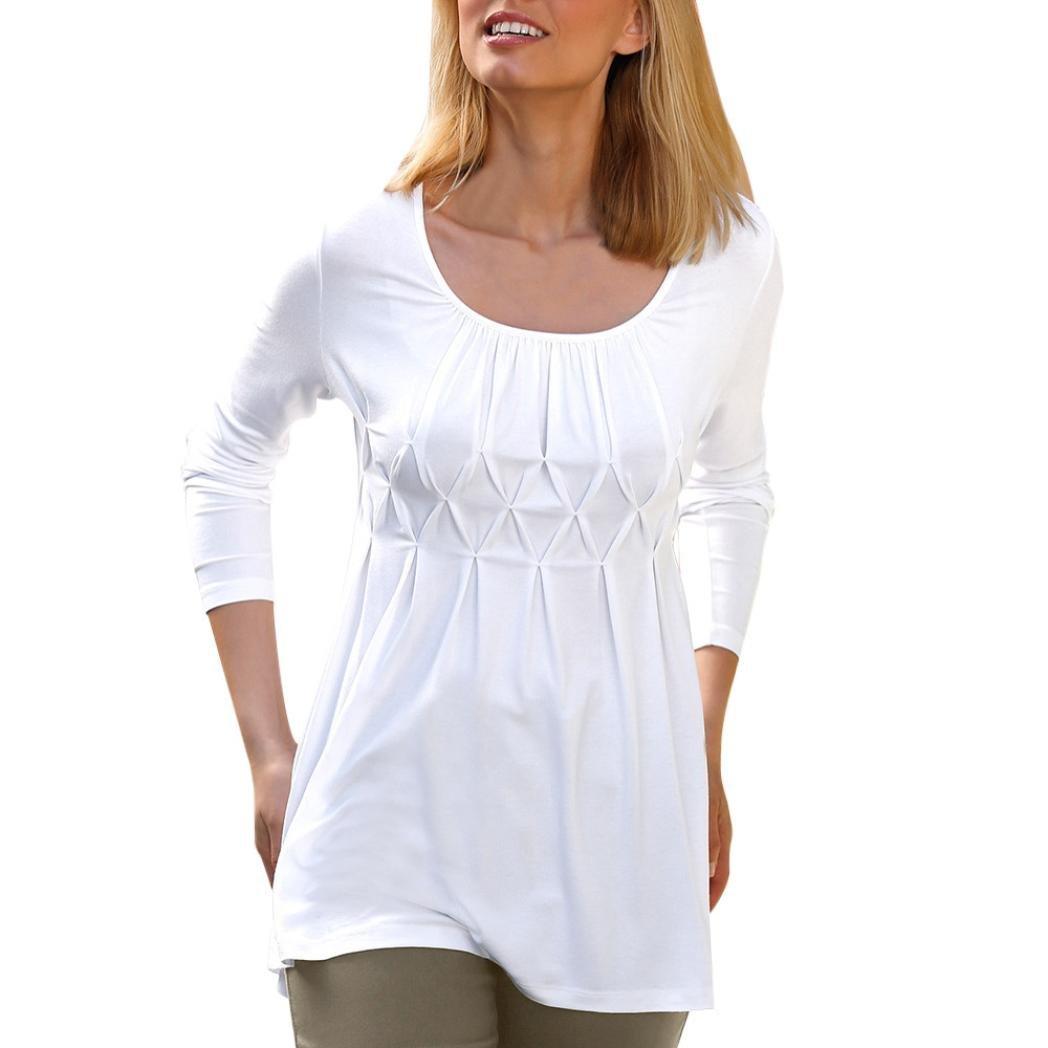 Ecurson Women Casual Basic Solid Row Pleated O Neck Long Sleeve Shirt Blouse (White, XXL)