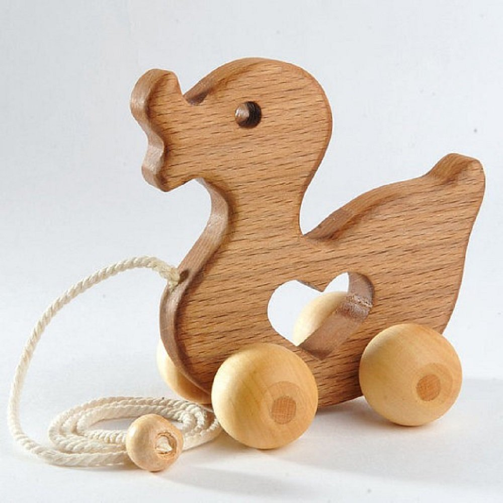 Animal Push Toy - Kids Toys Hardwood Wooden Toy Duck Push Toy - wooden kids toys Wooden Baby Toys animal toys